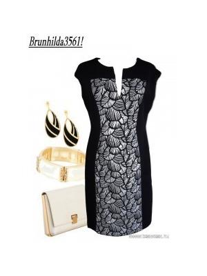 Fekete-fehér csíkos betétes karcsúsító ruha 42- - Női egész ruhák