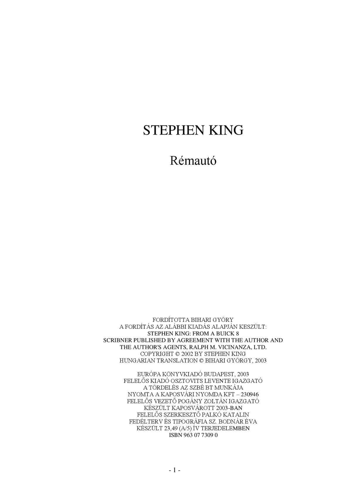 Calaméo - Stephen King - Rémautó