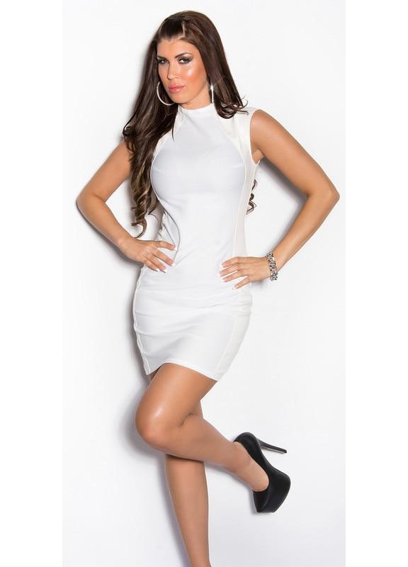 Csipke ujjú karcsúsító női ruha - Fehér (40) (Szállítási idő:)